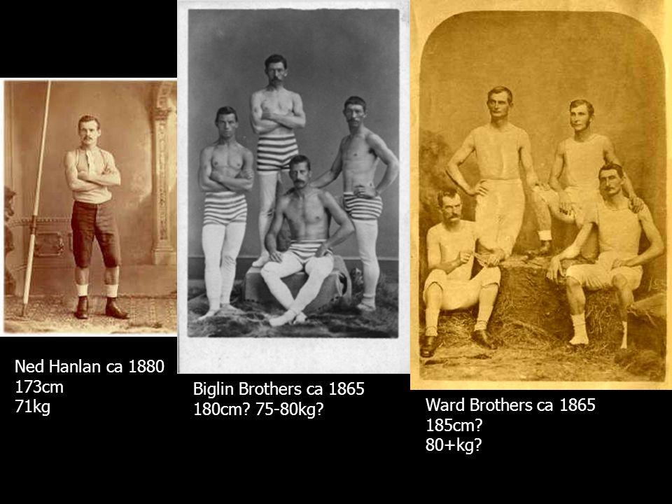 Ned Hanlan ca 1880 173cm 71kg Biglin Brothers ca 1865 180cm.