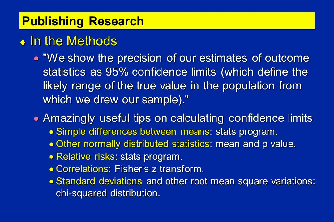 Publishing Research In the Methods In the Methods