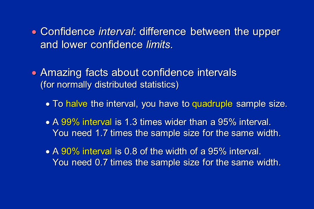Confidence interval: difference between the upper and lower confidence limits. Confidence interval: difference between the upper and lower confidence