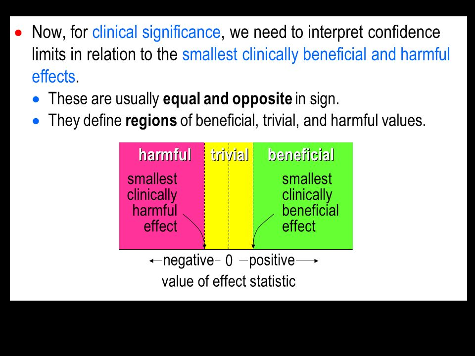Now, for clinical significance, we need to interpret confidence limits in relation to the smallest clinically beneficial and harmful effects.