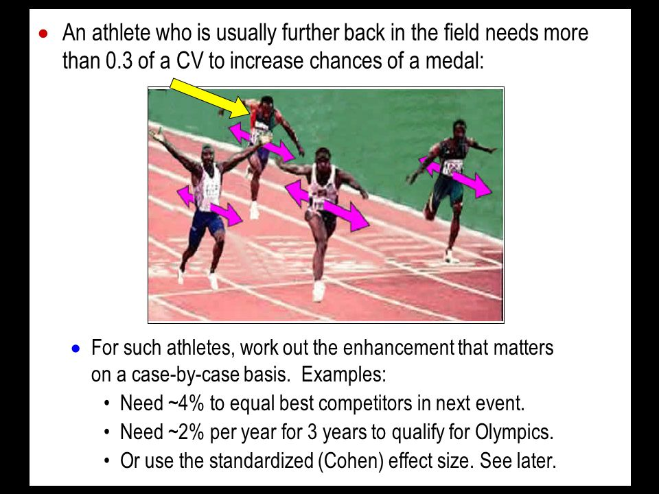 An athlete who is usually further back in the field needs more than 0.3 of a CV to increase chances of a medal: For such athletes, work out the enhancement that matters on a case-by-case basis.