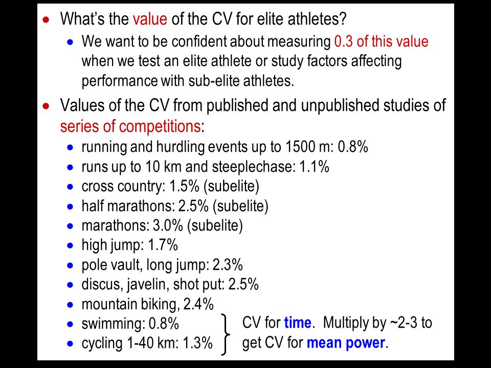 Whats the value of the CV for elite athletes? We want to be confident about measuring 0.3 of this value when we test an elite athlete or study factors