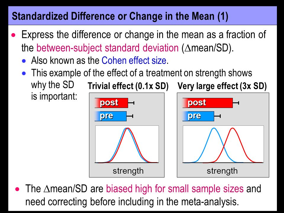 Standardized Difference or Change in the Mean (2) Problem: Study samples are often drawn from populations with different SDs, so some differences in effect size between studies will be due to the differences in SDs.