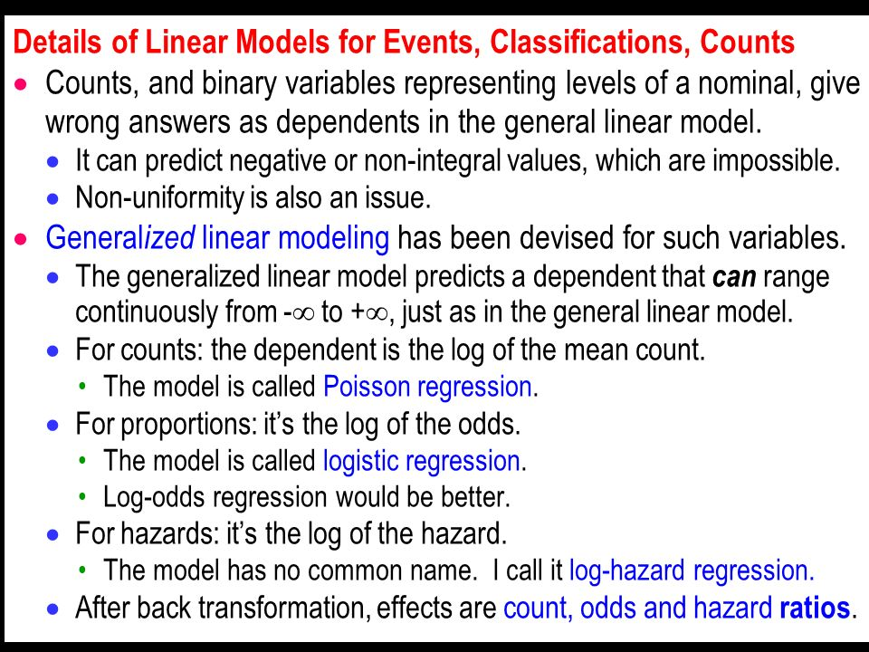Details of Linear Models for Events, Classifications, Counts Counts, and binary variables representing levels of a nominal, give wrong answers as depe