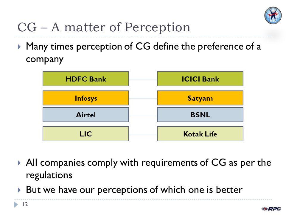 CG – A matter of Perception Many times perception of CG define the preference of a company All companies comply with requirements of CG as per the regulations But we have our perceptions of which one is better 12 HDFC BankICICI BankLICKotak LifeAirtelBSNLInfosysSatyam