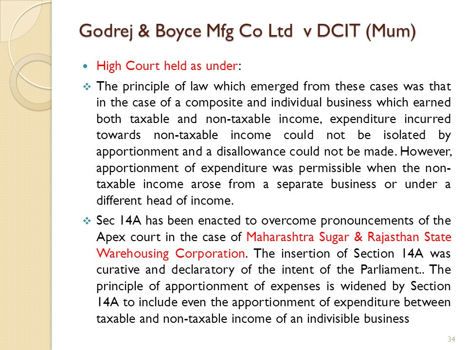 Godrej & Boyce Mfg Co Ltd v DCIT (Mum) High Court held as under: The principle of law which emerged from these cases was that in the case of a composi