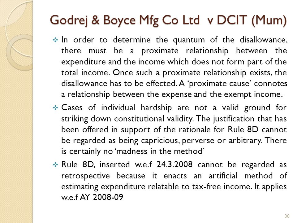 Godrej & Boyce Mfg Co Ltd v DCIT (Mum) In order to determine the quantum of the disallowance, there must be a proximate relationship between the expen