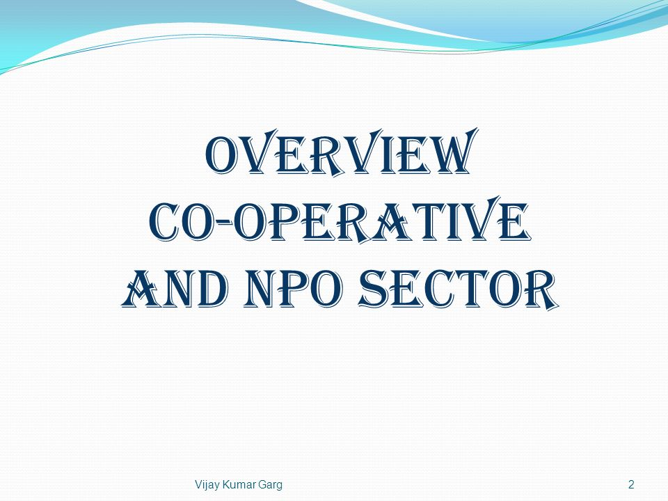 2 OVERVIEW Co-operative and NPO Sector