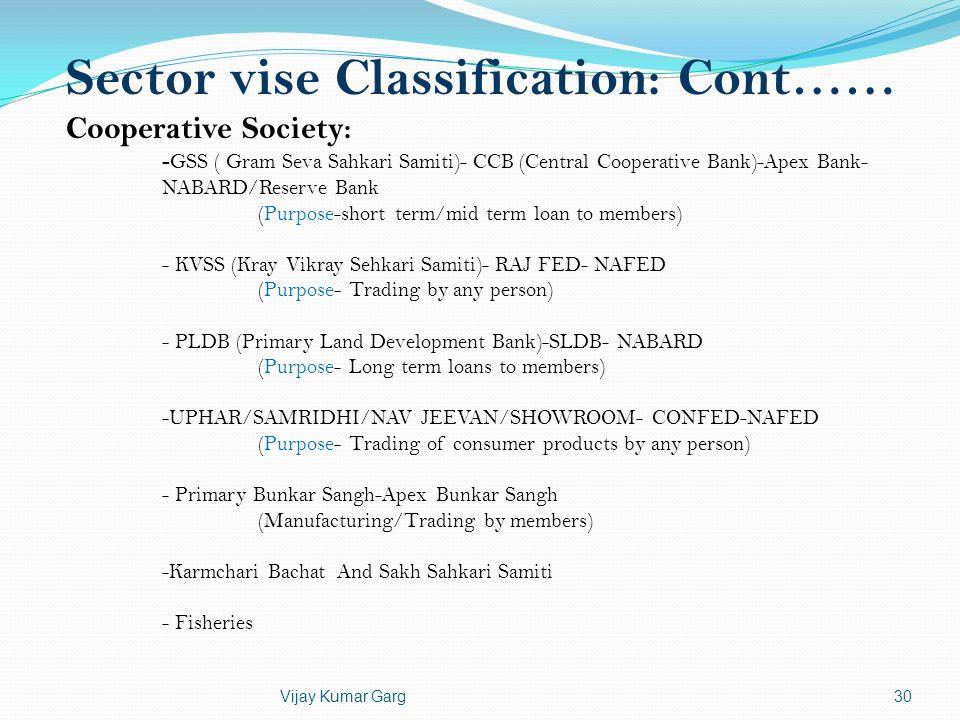 Vijay Kumar Garg30 Sector vise Classification: Cont…… Cooperative Society: - GSS ( Gram Seva Sahkari Samiti)- CCB (Central Cooperative Bank)-Apex Bank