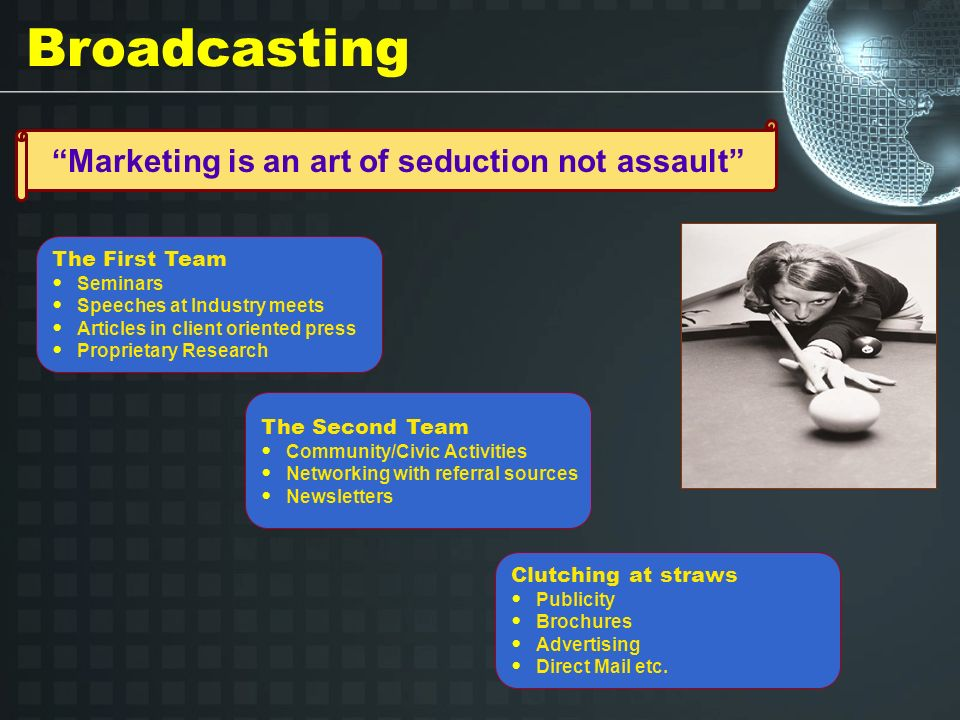Broadcasting Marketing is an art of seduction not assault The First Team Seminars Speeches at Industry meets Articles in client oriented press Proprietary Research The Second Team Community/Civic Activities Networking with referral sources Newsletters Clutching at straws Publicity Brochures Advertising Direct Mail etc.