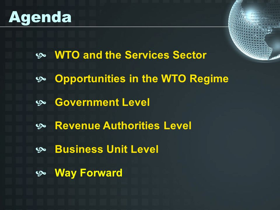 WTO and the Services Sector Opportunities in the WTO Regime Government Level Revenue Authorities Level Business Unit Level Way Forward Agenda