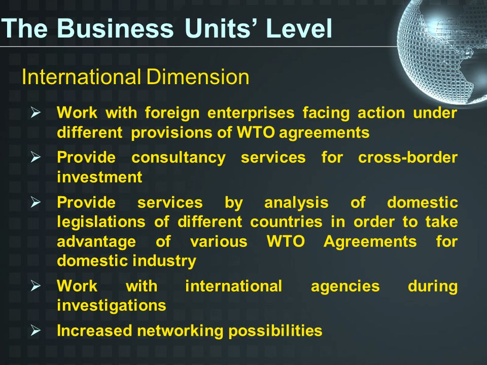 Work with foreign enterprises facing action under different provisions of WTO agreements Provide consultancy services for cross-border investment Provide services by analysis of domestic legislations of different countries in order to take advantage of various WTO Agreements for domestic industry Work with international agencies during investigations Increased networking possibilities The Business Units Level International Dimension