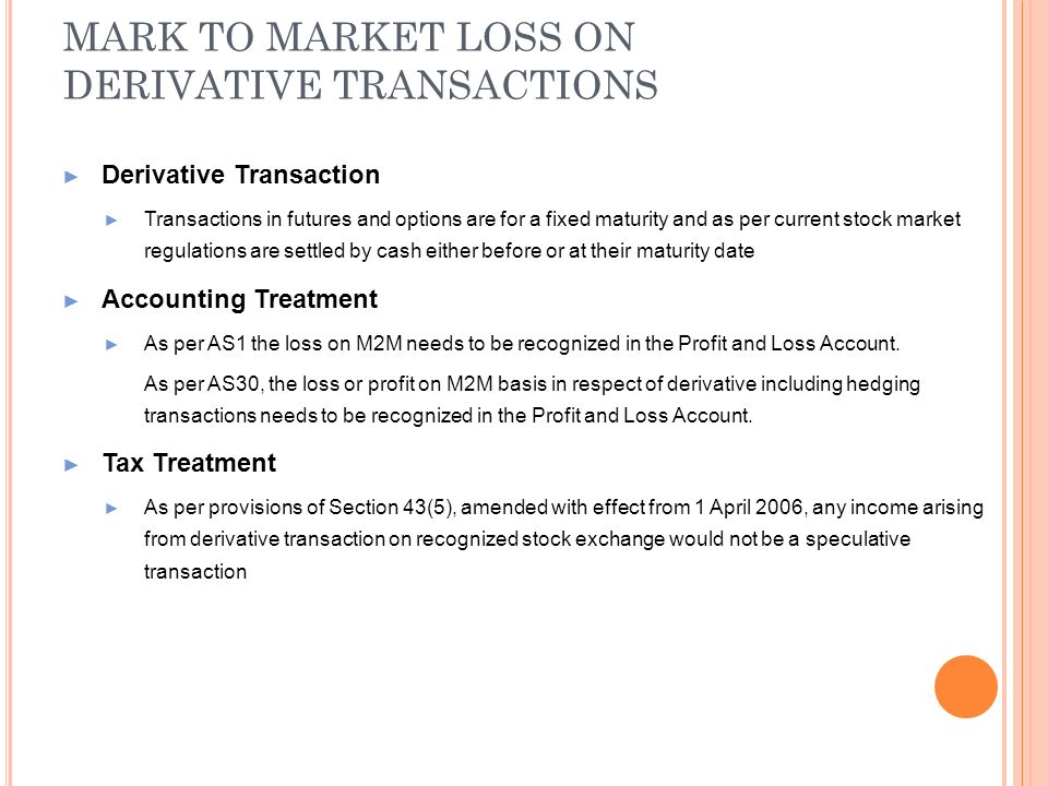 MARK TO MARKET LOSS ON DERIVATIVE TRANSACTIONS Derivative Transaction Transactions in futures and options are for a fixed maturity and as per current