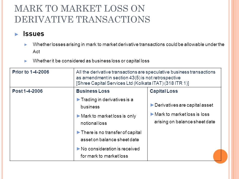 MARK TO MARKET LOSS ON DERIVATIVE TRANSACTIONS Issues Whether losses arising in mark to market derivative transactions could be allowable under the Ac