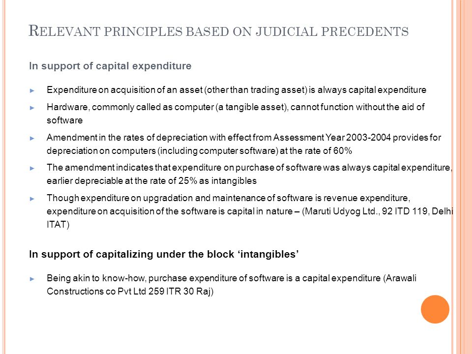 R ELEVANT PRINCIPLES BASED ON JUDICIAL PRECEDENTS In support of capital expenditure Expenditure on acquisition of an asset (other than trading asset)