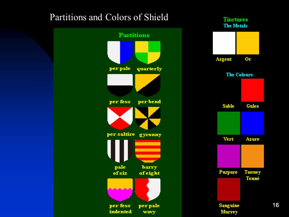 16 Partitions and Colors of Shield