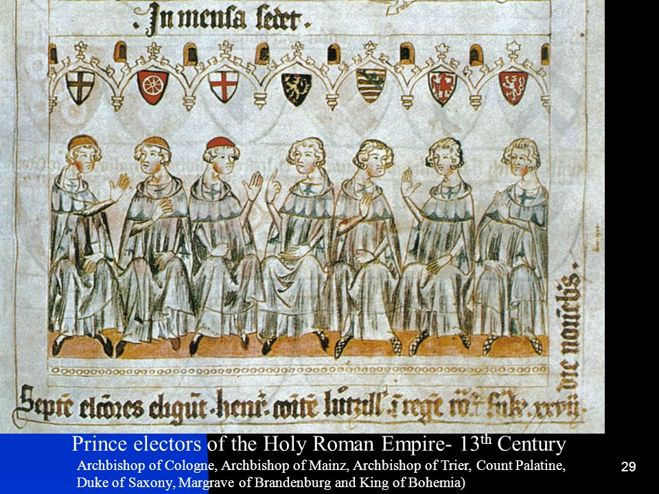 29 Prince electors of the Holy Roman Empire- 13 th Century Archbishop of Cologne, Archbishop of Mainz, Archbishop of Trier, Count Palatine, Duke of Sa