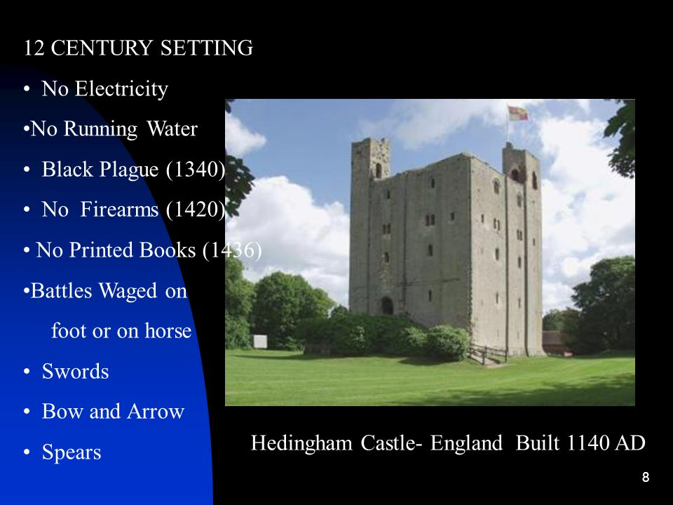 8 Hedingham Castle- England Built 1140 AD 12 CENTURY SETTING No Electricity No Running Water Black Plague (1340) No Firearms (1420) No Printed Books (