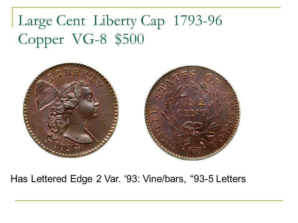 Large Cent Liberty Cap 1793-96 Copper VG-8 $500 Has Lettered Edge 2 Var. 93: Vine/bars, 93-5 Letters