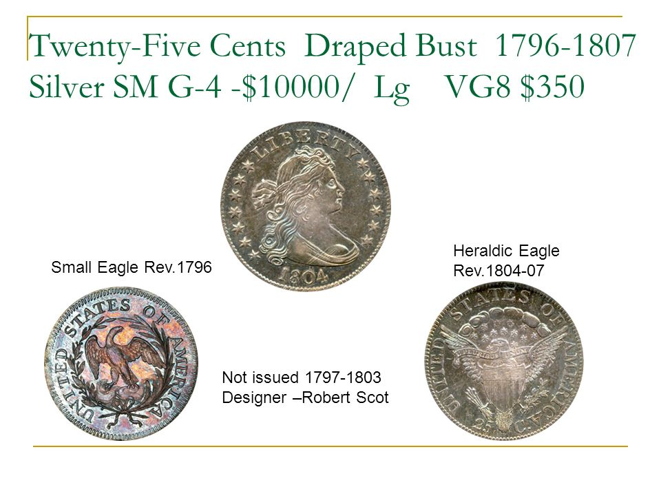 Twenty-Five Cents Draped Bust 1796-1807 Silver SM G-4 -$10000/ Lg VG8 $350 Heraldic Eagle Rev.1804-07 Small Eagle Rev.1796 Not issued 1797-1803 Designer –Robert Scot