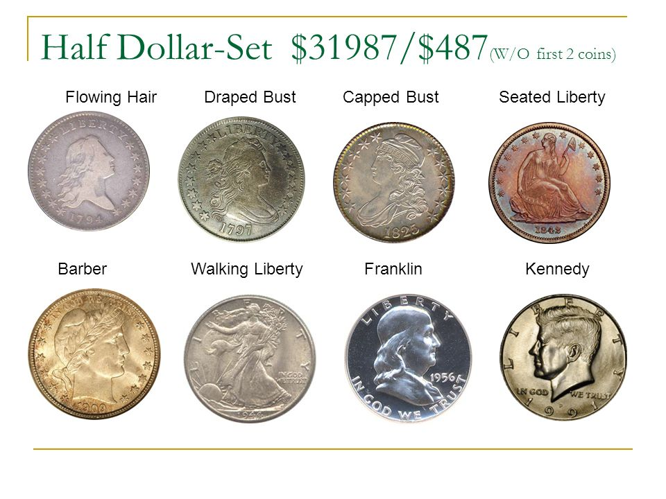 Half Dollar-Set $31987/$487 (W/O first 2 coins) Flowing Hair Draped Bust Capped Bust Seated Liberty Barber Walking Liberty Franklin Kennedy