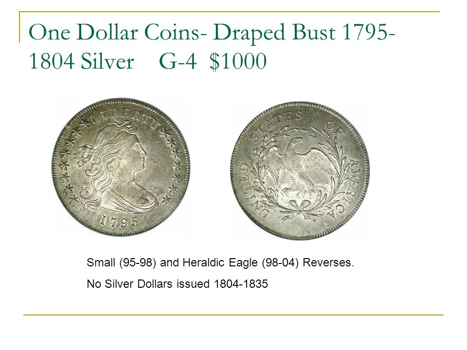 One Dollar Coins- Draped Bust 1795- 1804 Silver G-4 $1000 Small (95-98) and Heraldic Eagle (98-04) Reverses.