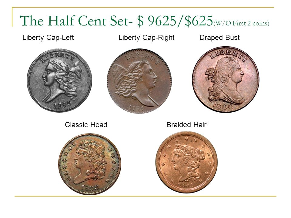 The Half Cent Set- $ 9625/$625 (W/O First 2 coins) Liberty Cap-Left Liberty Cap-Right Draped Bust Classic Head Braided Hair