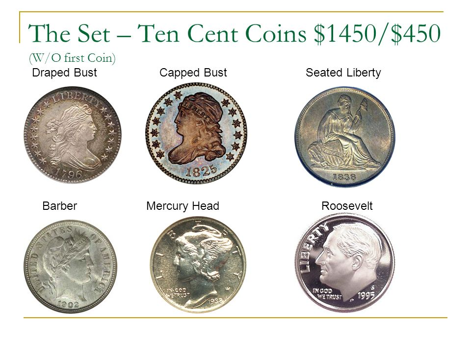 The Set – Ten Cent Coins $1450/$450 (W/O first Coin) Draped Bust Capped Bust Seated Liberty Barber Mercury Head Roosevelt