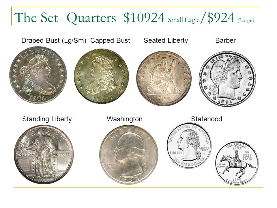 The Set- Quarters $10924 Small Eagle /$924 (Large) Draped Bust (Lg/Sm) Capped Bust Seated Liberty Barber Standing Liberty Washington Statehood