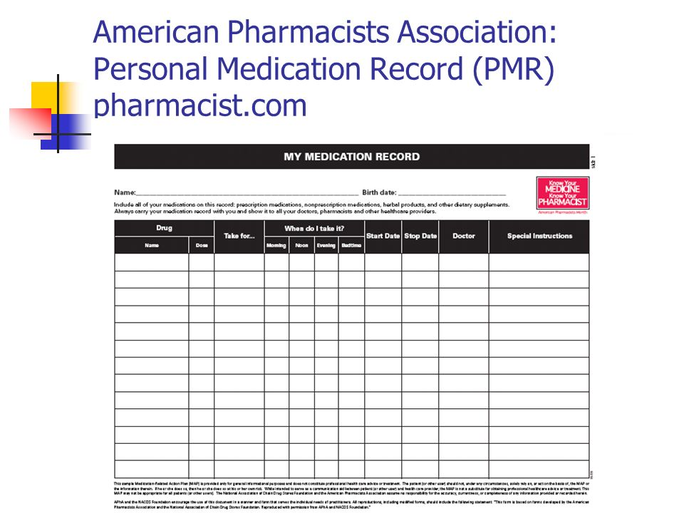 American Pharmacists Association: Personal Medication Record (PMR) pharmacist.com