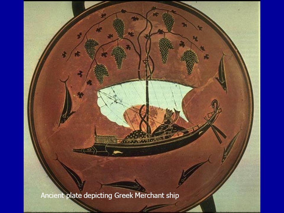 Ancient plate depicting Greek Merchant ship