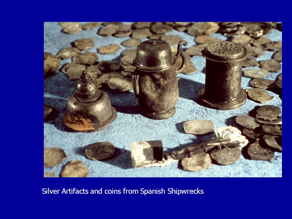 Silver Artifacts and coins from Spanish Shipwrecks