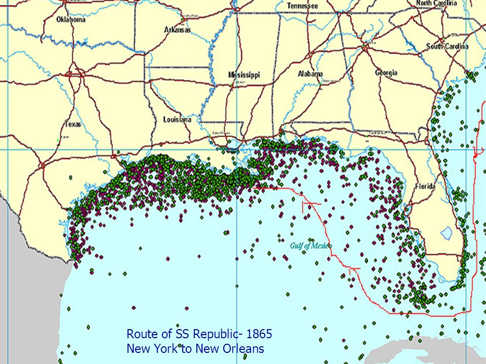 Route of SS Republic- 1865 New York to New Orleans