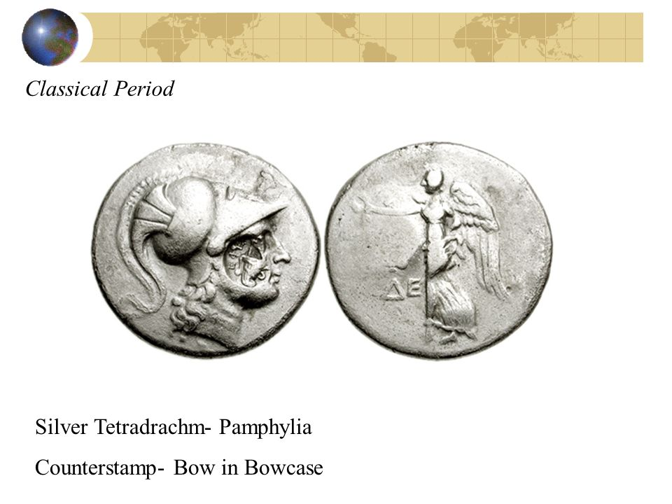 Classical Period Silver Tetradrachm- Pamphylia Counterstamp- Bow in Bowcase