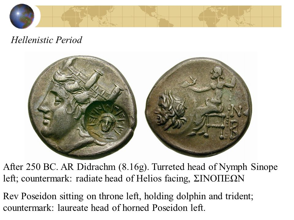 Hellenistic Period After 250 BC. AR Didrachm (8.16g). Turreted head of Nymph Sinope left; countermark: radiate head of Helios facing, ΣΙΝΟΠΕΩΝ Rev Pos