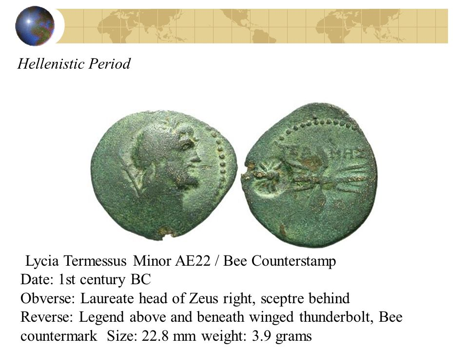 Hellenistic Period Lycia Termessus Minor AE22 / Bee Counterstamp Date: 1st century BC Obverse: Laureate head of Zeus right, sceptre behind Reverse: Le