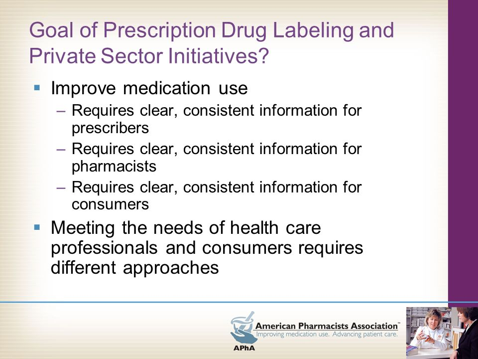 Goal of Prescription Drug Labeling and Private Sector Initiatives.