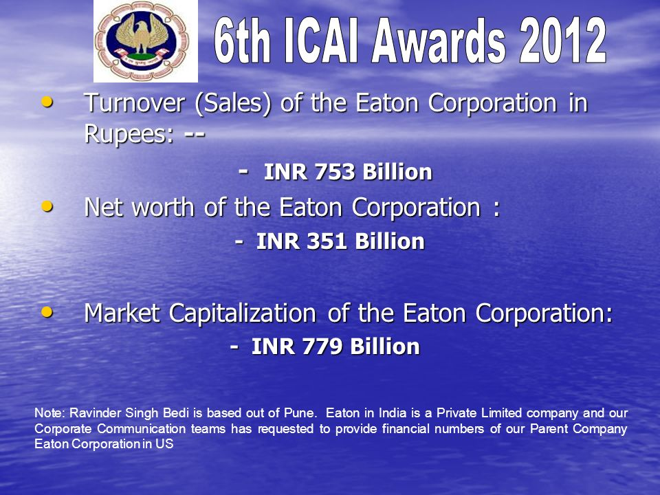 Turnover (Sales) of the Eaton Corporation in Rupees: -- Turnover (Sales) of the Eaton Corporation in Rupees: -- - INR 753 Billion Net worth of the Eaton Corporation : Net worth of the Eaton Corporation : - INR 351 Billion - INR 351 Billion Market Capitalization of the Eaton Corporation: Market Capitalization of the Eaton Corporation: - INR 779 Billion - INR 779 Billion Note: Ravinder Singh Bedi is based out of Pune.