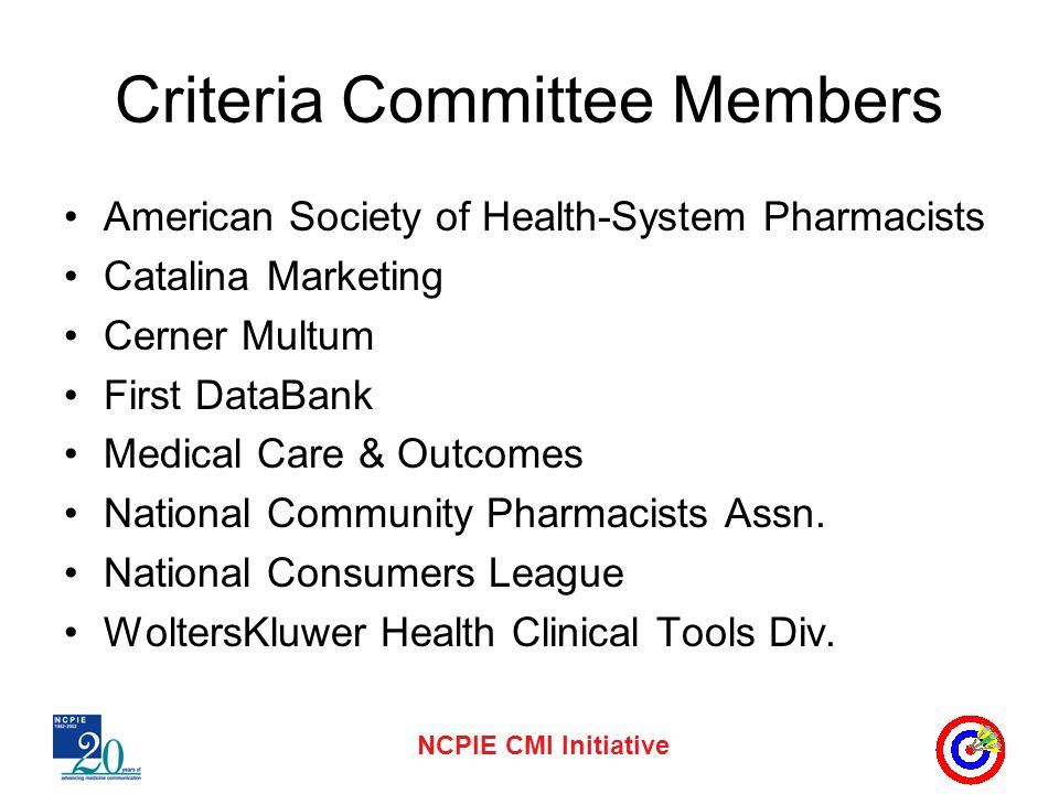 Criteria Committee Members American Society of Health-System Pharmacists Catalina Marketing Cerner Multum First DataBank Medical Care & Outcomes National Community Pharmacists Assn.