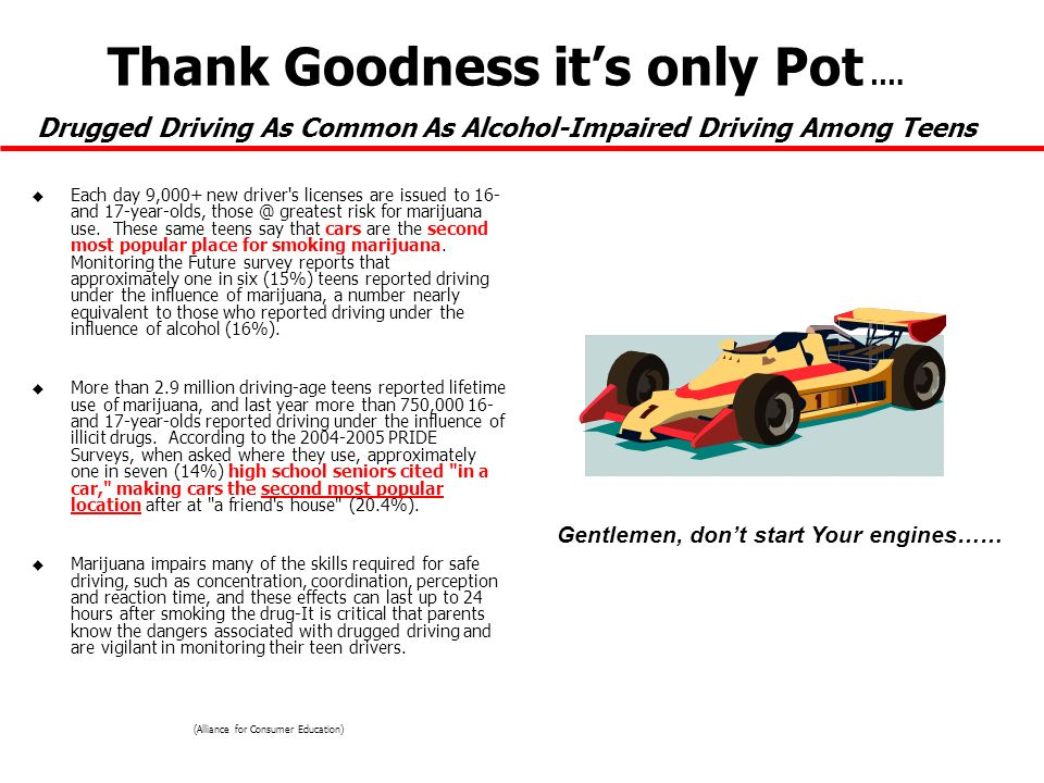 Thank Goodness its only Pot …. Drugged Driving As Common As Alcohol-Impaired Driving Among Teens u Each day 9,000+ new driver's licenses are issued to