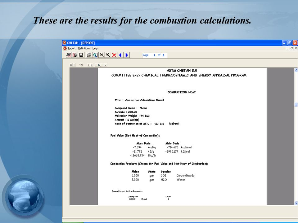 These are the results for the combustion calculations.