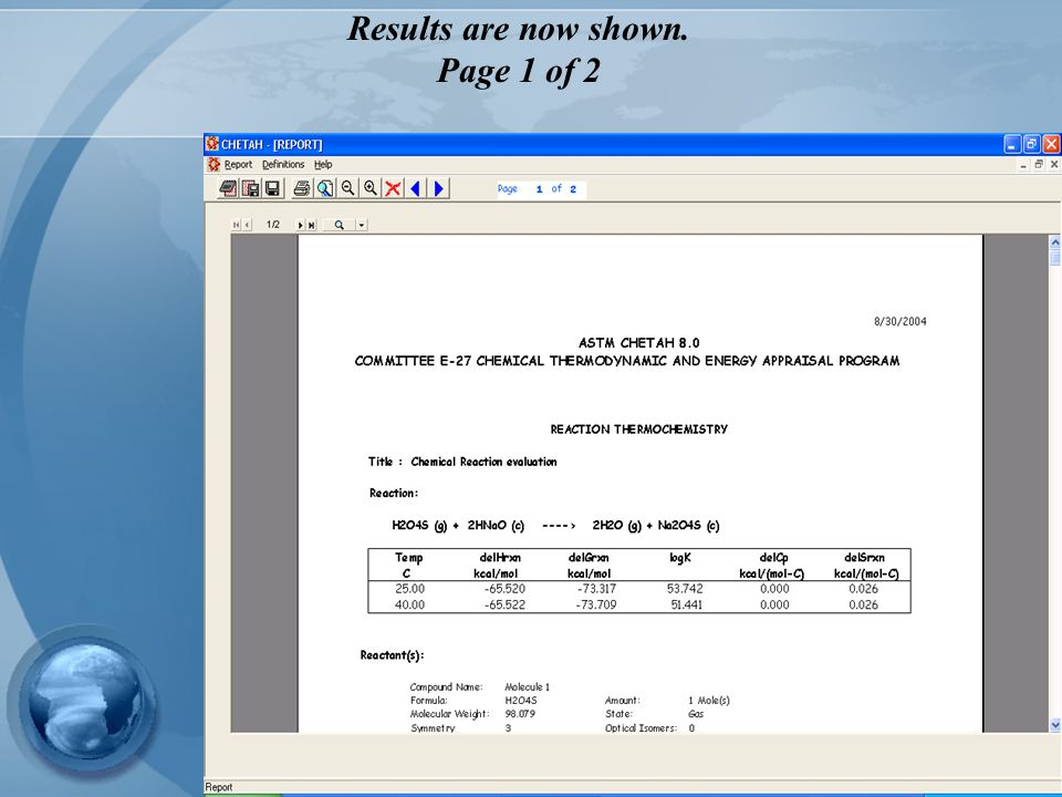 Results are now shown. Page 1 of 2