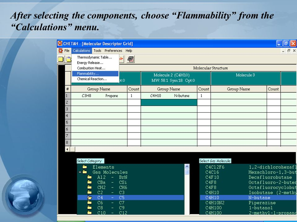 After selecting the components, choose Flammability from the Calculations menu.