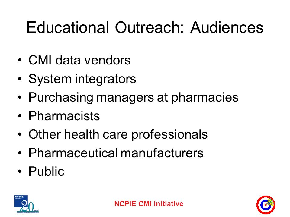 NCPIE CMI Initiative Educational Outreach: Audiences CMI data vendors System integrators Purchasing managers at pharmacies Pharmacists Other health care professionals Pharmaceutical manufacturers Public