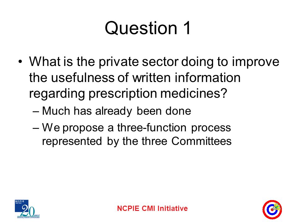 NCPIE CMI Initiative Question 1 What is the private sector doing to improve the usefulness of written information regarding prescription medicines? –M