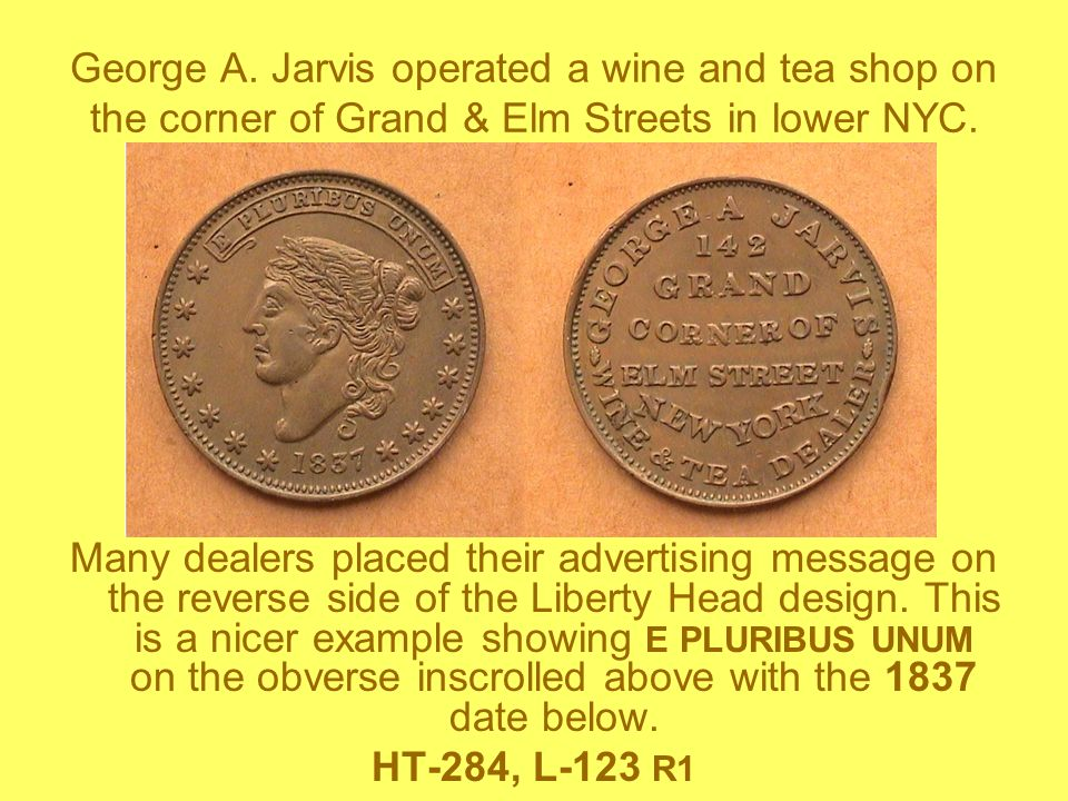 George A. Jarvis operated a wine and tea shop on the corner of Grand & Elm Streets in lower NYC. Many dealers placed their advertising message on the