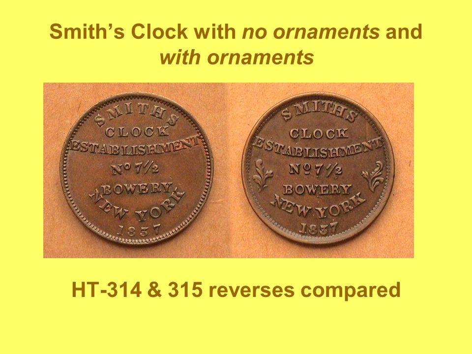 Smiths Clock with no ornaments and with ornaments HT-314 & 315 reverses compared