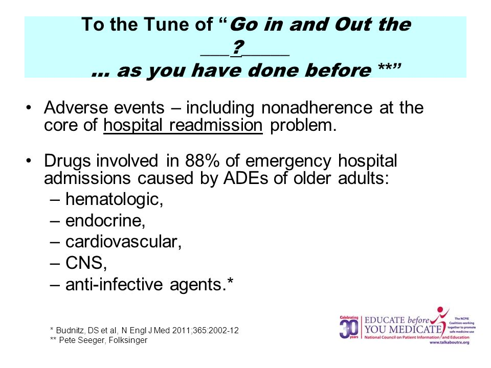 To the Tune of Go in and Out the ___ _____ … as you have done before ** Adverse events – including nonadherence at the core of hospital readmission problem.