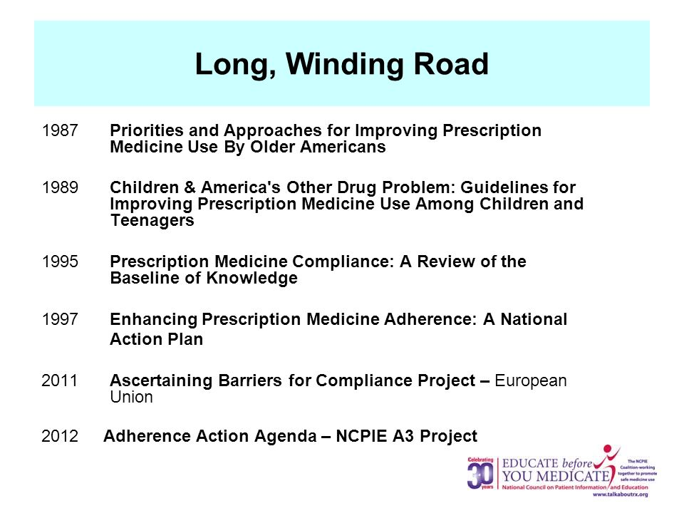 Long, Winding Road 1987Priorities and Approaches for Improving Prescription Medicine Use By Older Americans 1989 Children & America s Other Drug Problem: Guidelines for Improving Prescription Medicine Use Among Children and Teenagers 1995 Prescription Medicine Compliance: A Review of the Baseline of Knowledge 1997 Enhancing Prescription Medicine Adherence: A National Action Plan 2011 Ascertaining Barriers for Compliance Project – European Union 2012 Adherence Action Agenda – NCPIE A3 Project