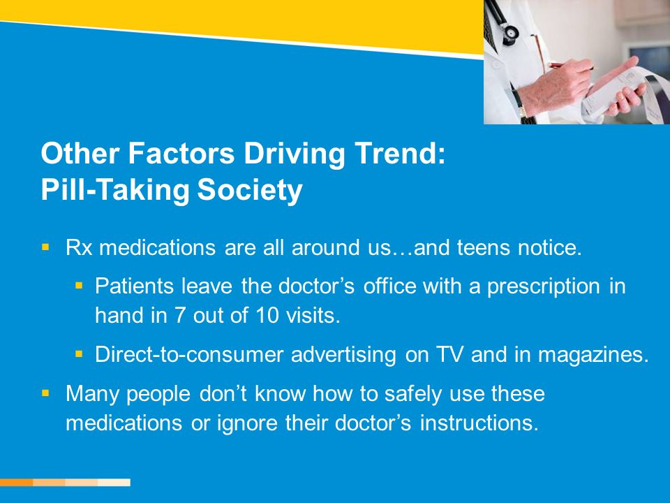Other Factors Driving Trend: Pill-Taking Society Rx medications are all around us…and teens notice. Patients leave the doctors office with a prescript